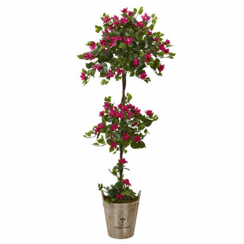 5.5' Silk Bougainvillea Double Ball Topiary Tree with European Barrel Planter