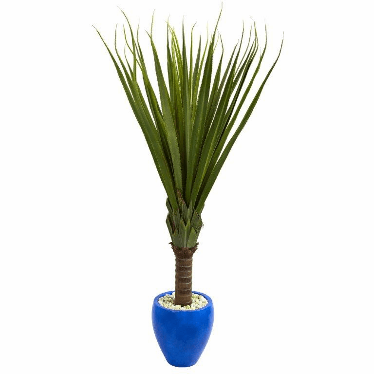 5.5� Spiky Agave Artificial Plant in Blue Oval Planter