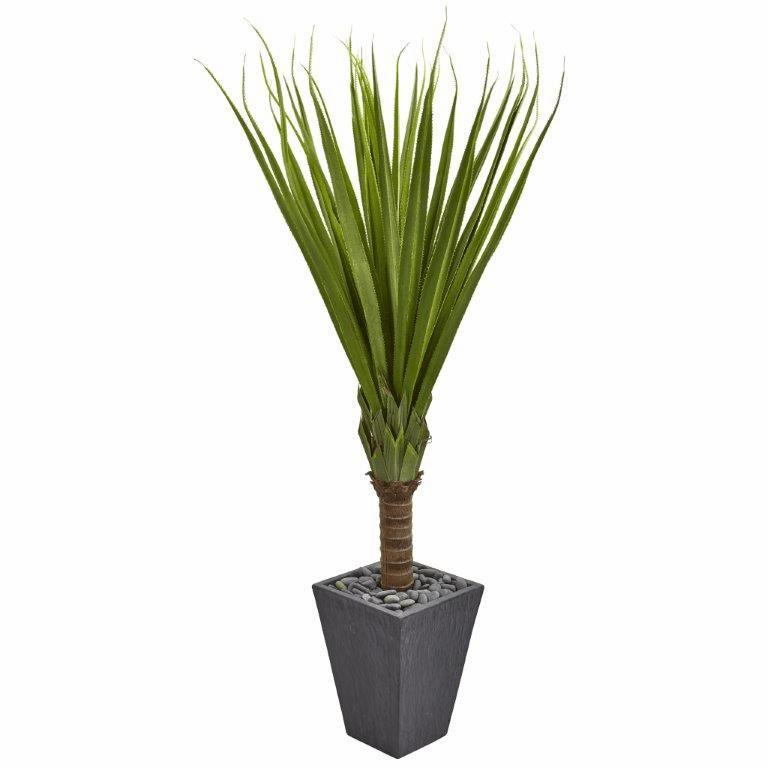 5.5� Spiky Agave Artificial Plant in Slate Planter
