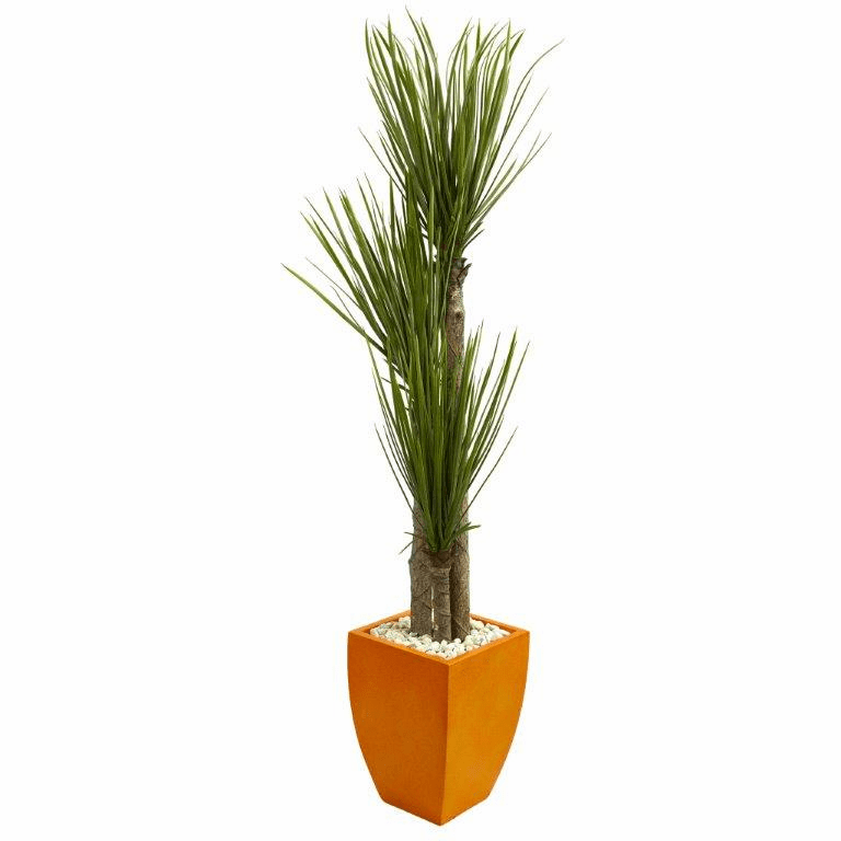 5.5� Triple Stalk Yucca Artificial Plant in Orange Planter