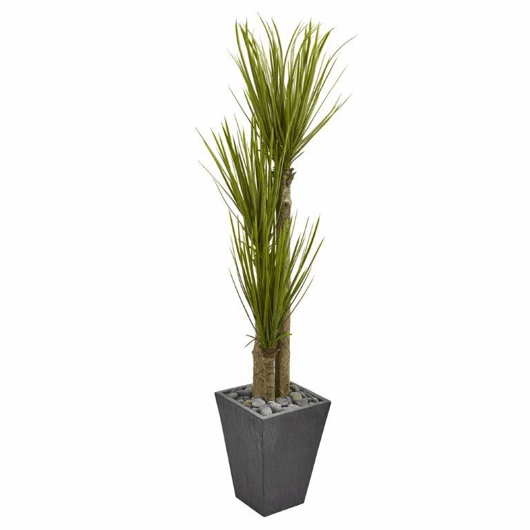 5.5� Triple Stalk Yucca Artificial Plant in Slate Planter