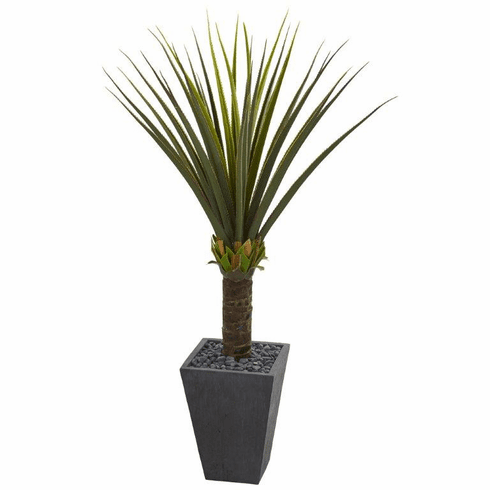 5' Agave Artificial Plant in Slate Finished Planter