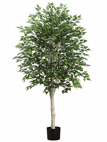 5' Artificial Birch Tree with 1638 Leaves in Pot - Set of 2