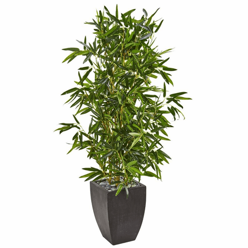 5' Bamboo Artificial Tree in Black Planter (Real Touch) UV Resistant (Indoor/Outdoor)