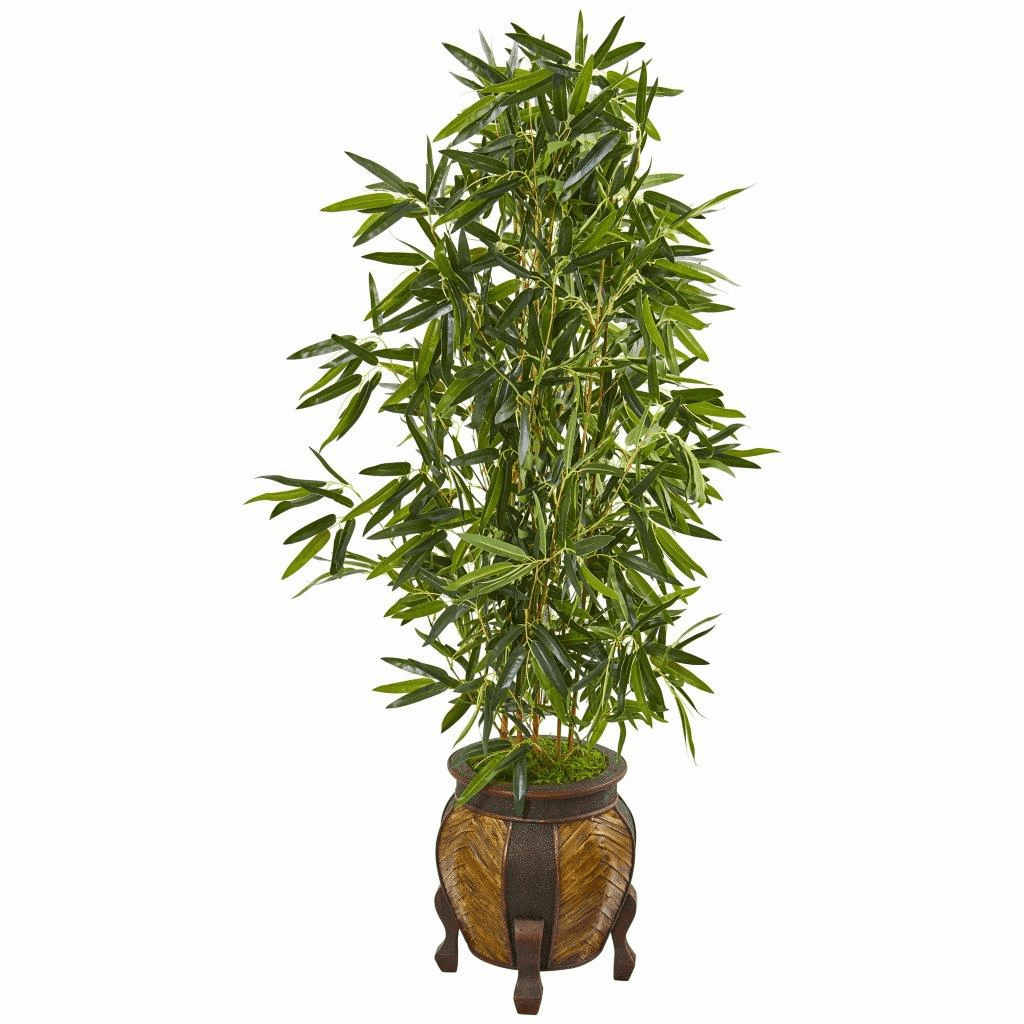 5� Bamboo Artificial Tree in Decorative Planter (Real Touch)