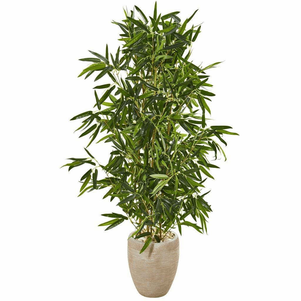 5� Bamboo Artificial Tree in Sand Colored Planter (Real Touch) UV Resistant (Indoor/Outdoor)