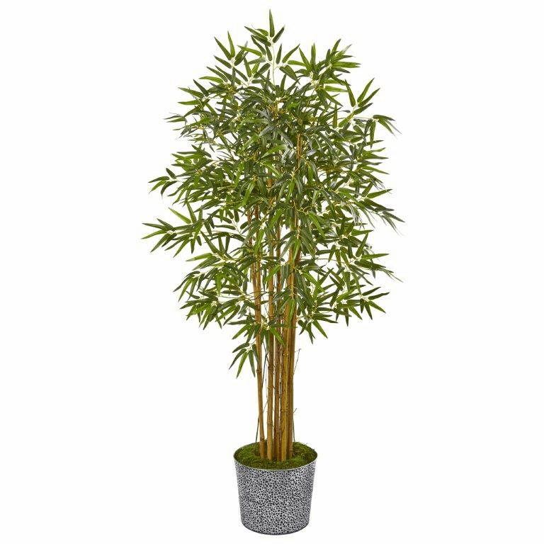 5� Bamboo Artificial Tree in Tin Planter -