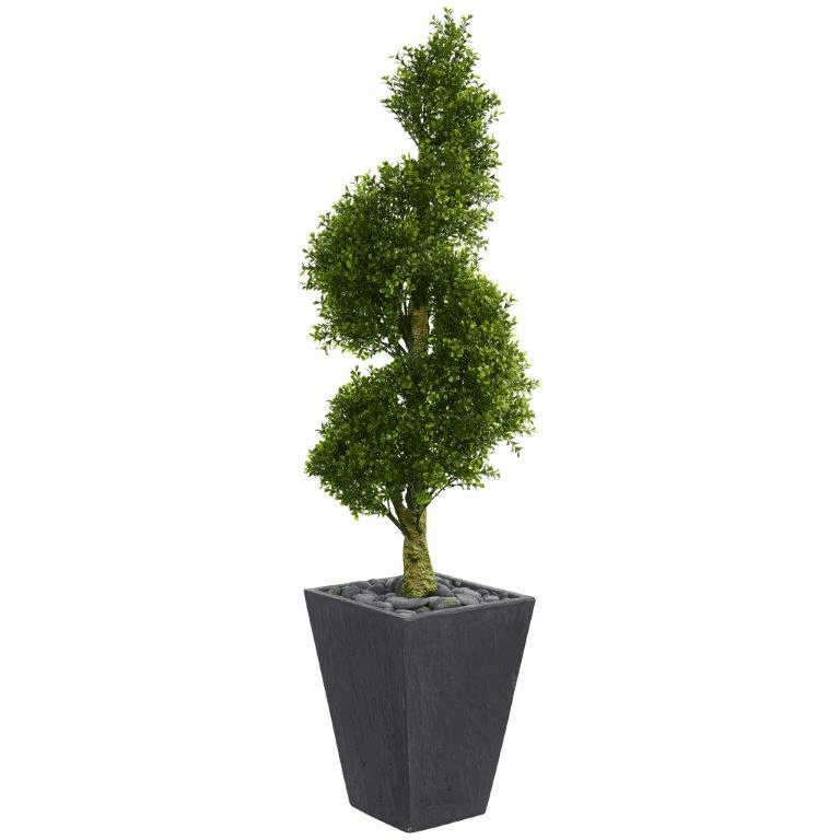 5� Boxwood Spiral Topiary Artificial Tree in Slate Planter UV Resistant (Indoor/Outdoor)