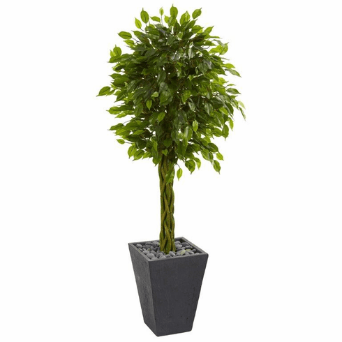 5' Braided Ficus Artificial Tree in Slate Planter UV Resistant (Indoor/Outdoor) -
