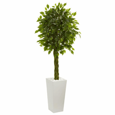 5' Braided Ficus Artificial Tree in White Tower Planter UV Resistant (Indoor/Outdoor) -
