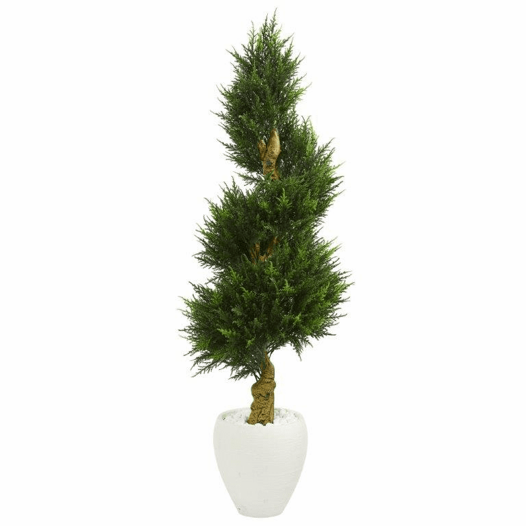 5� Cypress Spiral Artificial Tree in White Oval Planter UV Resistant (Indoor/Outdoor)