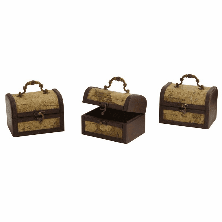 "5"" Decorative Chest with Map Design (Set of 3) - Planter"