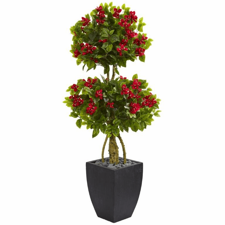 5� Double Ball Bougainvillea Artificial Tree in Black Wash Planter