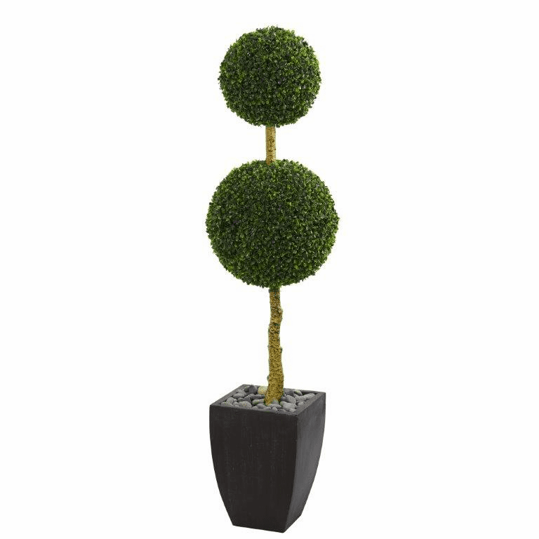 5� Double Ball Boxwood Topiary Artificial Tree in Black Wash Planter UV Resistant (Indoor/Outdoor)