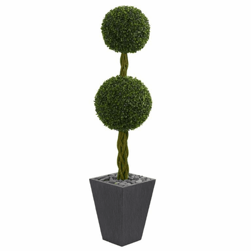 5' Double Ball Boxwood Topiary Artificial Tree in Slate Planter UV Resistant (Indoor/Outdoor)r) -