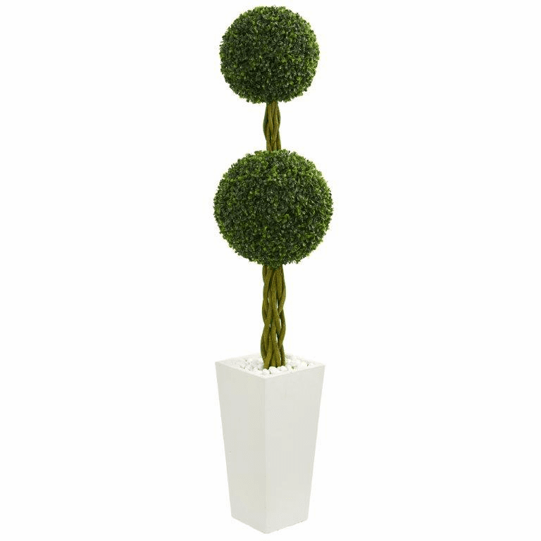 5� Double Ball Boxwood Topiary Artificial Tree in White Tower Planter UV Resistant (Indoor/Outdoor)