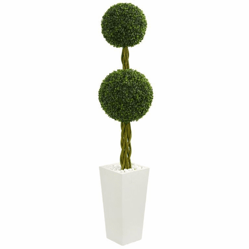 5' Double Ball Boxwood Topiary Artificial Tree in White Tower Planter UV Resistant (Indoor/Outdoor)
