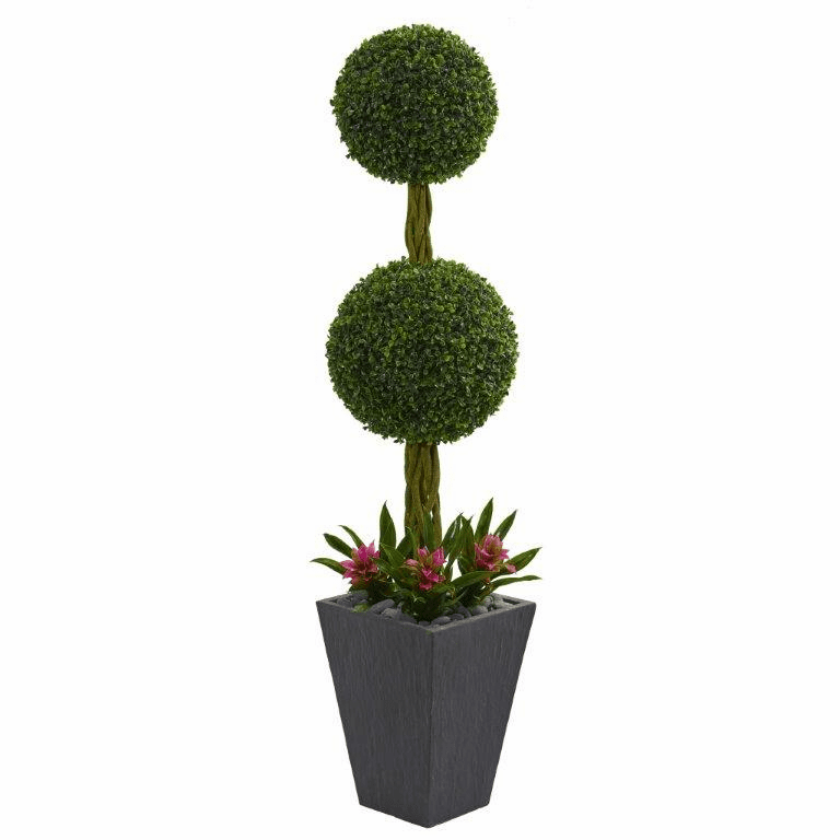 5� Double Boxwood Ball Topiary Artificial Tree in Slate Planter UV Resistant (Indoor/Outdoor) -