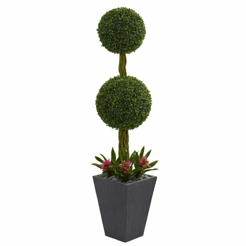 5' Double Boxwood Ball Topiary Artificial Tree in Slate Planter UV Resistant (Indoor/Outdoor) -