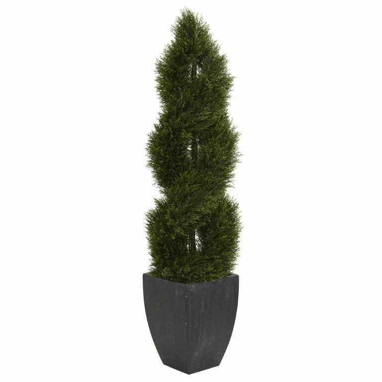 5� Double Pond Cypress Spiral Topiary Artificial Tree in Black Wash Planter UV Resistant (Indoor/Outdoor)