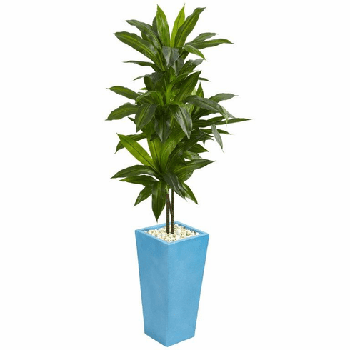 5' Dracaena Artificial Plant in Turquoise Tower Vase