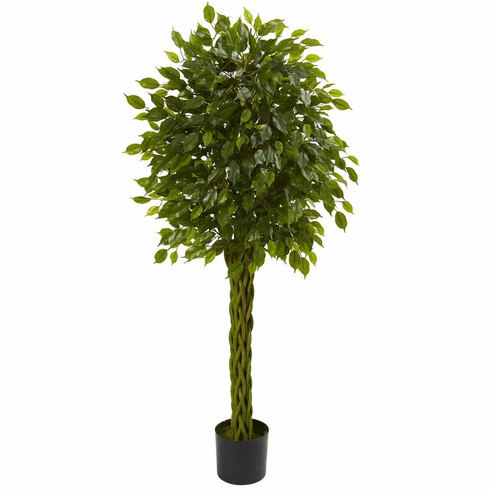 5' Ficus Artificial Tree with Woven Trunk UV Resistant (Indoor/Outdoor)