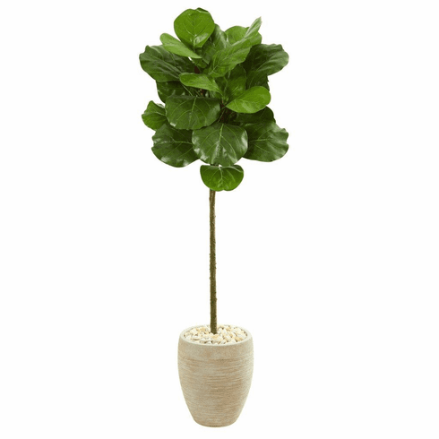 5' Fiddle Leaf Artificial Tree in Sand Colored Planter