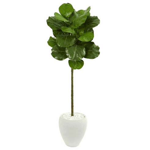 5' Fiddle Leaf Artificial Tree in White Planter