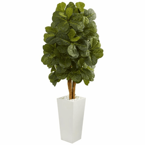 5' Fiddle Leaf Artificial Tree in White Tower Planter  -