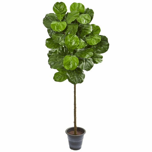 5' Fiddle Leaf Artificial Tree With Decorative Planter
