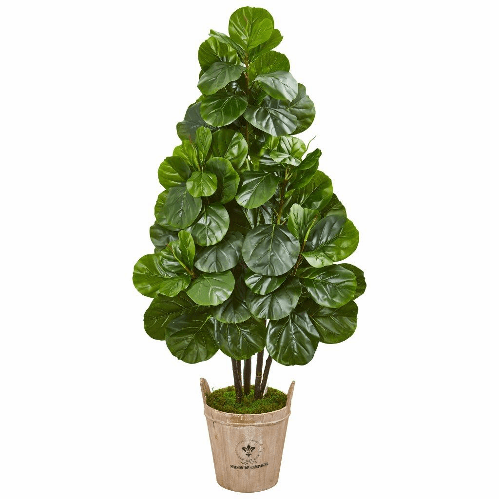 5� Fiddle Leaf Fig Artificial Tree in Farmhouse Planter