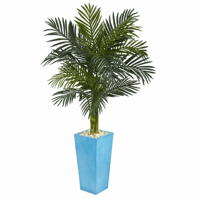 5� Golden Cane Palm Artificial Tree in Turquoise Tower Vase