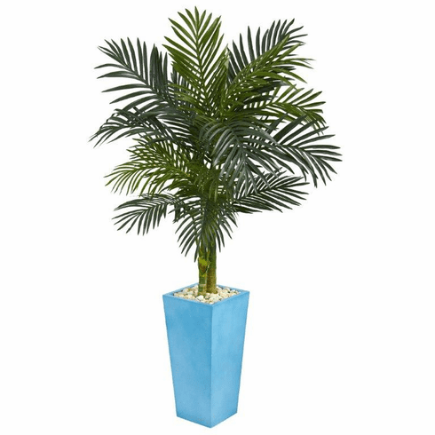 5' Golden Cane Palm Artificial Tree in Turquoise Tower Vase