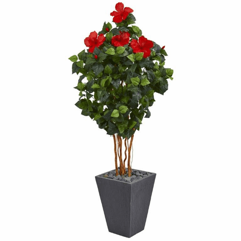 5' Hibiscus Artificial Tree in Slate Planter with Silk Flowers