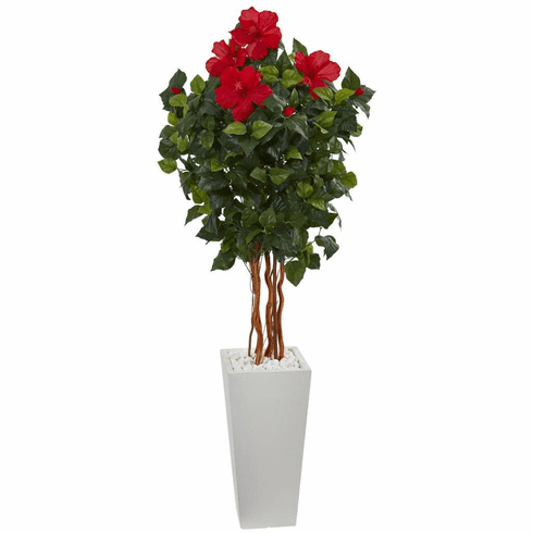 5' Hibiscus Artificial Tree in White Tower Planter