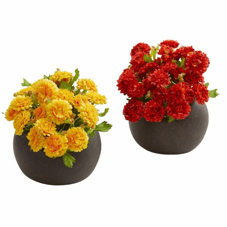 "5"" Japanese Artificial Arrangement in Brown Planter (Set of 2) - Assorted"