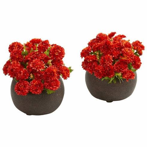 "5"" Japanese Artificial Arrangement in Brown Planter (Set of 2) - Burnt Orange"