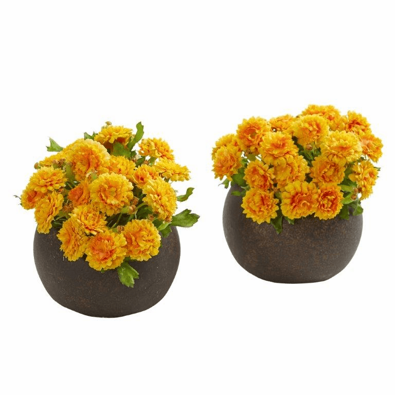 "5"" Japanese Artificial Arrangement in Brown Planter (Set of 2) - Yellow"