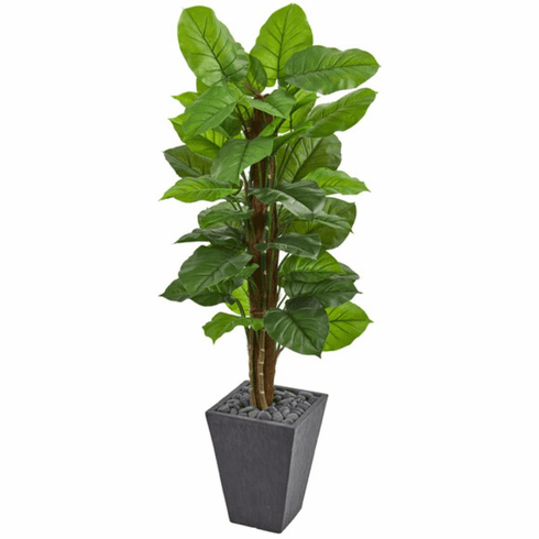 5' Large Leaf Philodendron Artificial Floor Plant in Slate Planter (Real Touch)