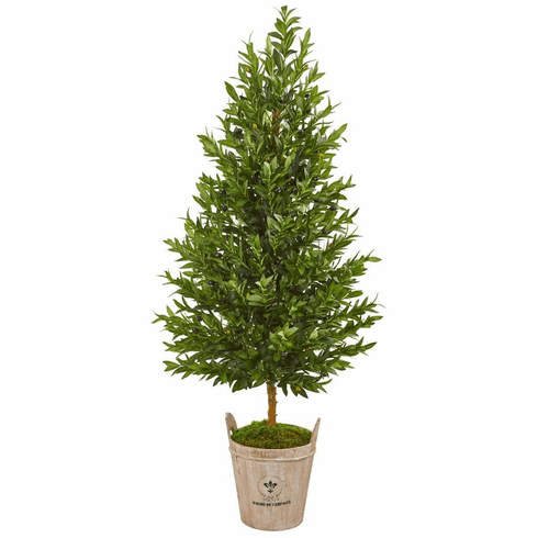 5' Olive Cone Topiary Artificial Tree in Farmhouse Planter