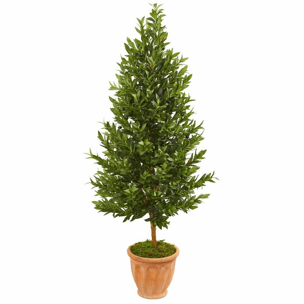 5� Olive Cone Topiary Artificial Tree in Terra Cotta Planter UV Resistant (Indoor/Outdoor)