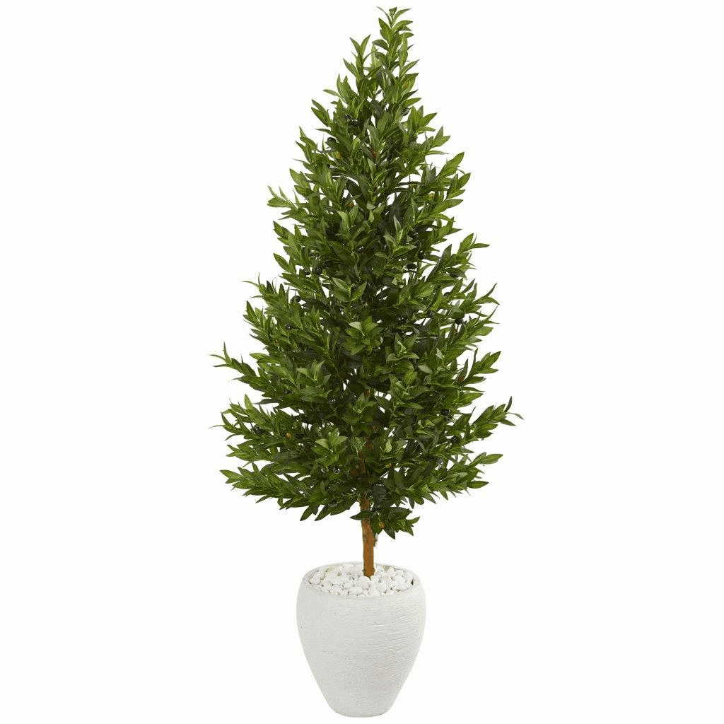 5� Olive Cone Topiary Artificial Tree in White Planter UV Resistant (Indoor/Outdoor)