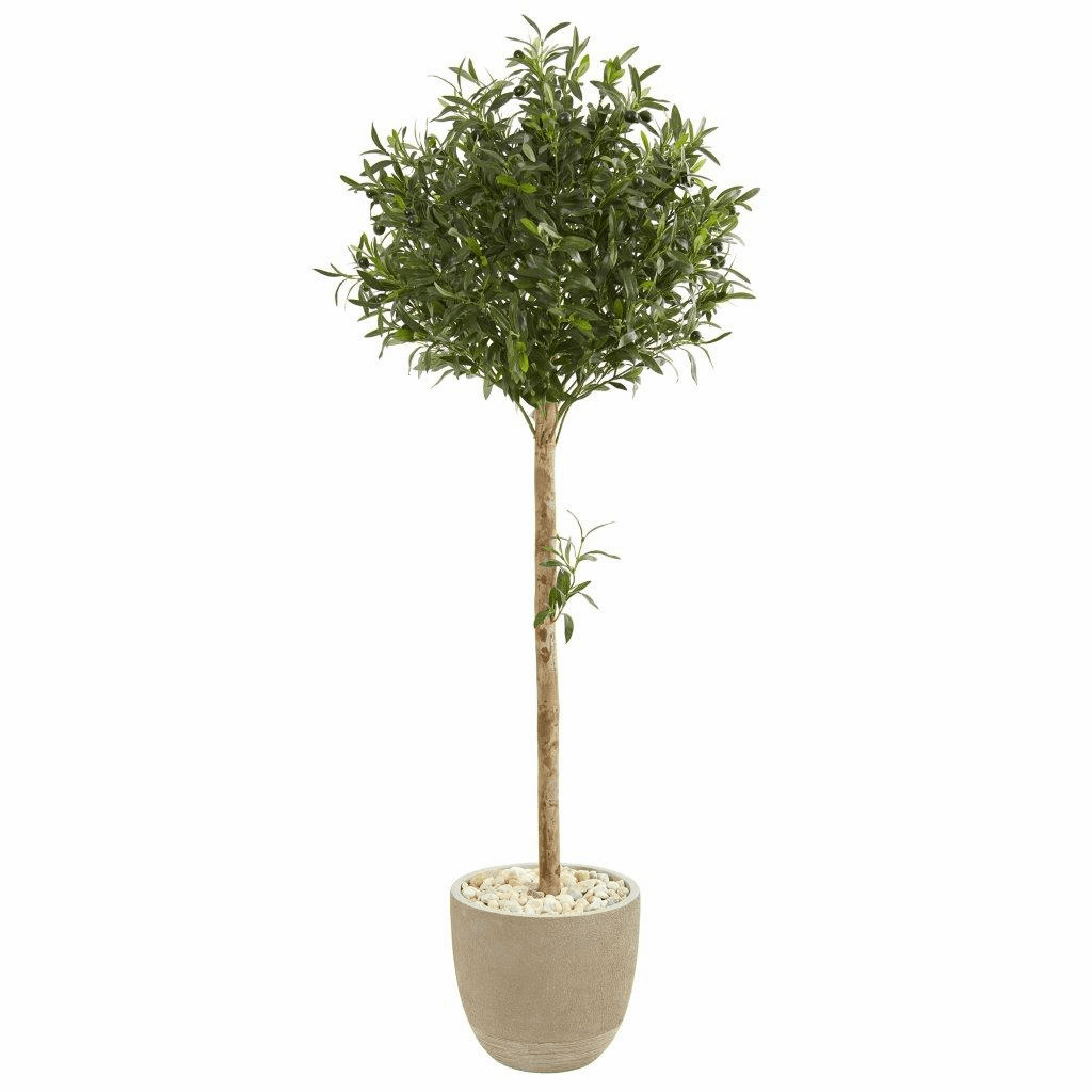5� Olive Topiary Artificial Tree in Sand Stone Planter