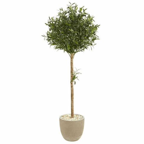 5' Olive Topiary Artificial Tree in Sand Stone Planter