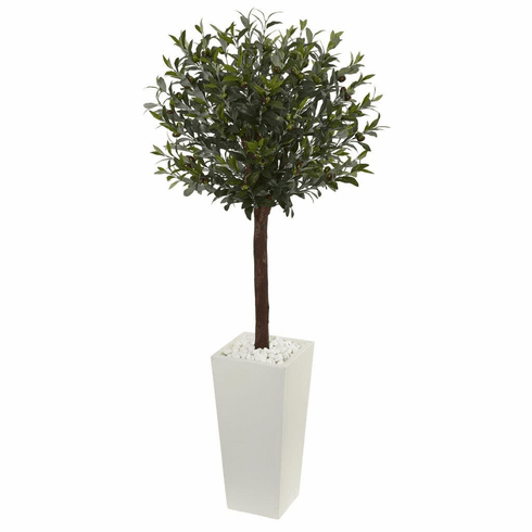 5' Olive Topiary Artificial Tree in White Tower Planter