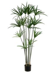 5' Papyrus Artificial Plant with 12 Leaves in Pot - Set of 2