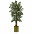5� Parlor Palm Artificial Tree in Green Tin Planter