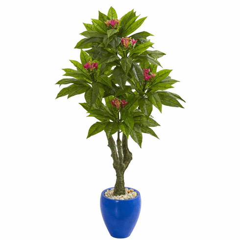 5' Plumeria Artificial Tree in Decorative Blue Planter UV Resistant (Indoor/Outdoor)