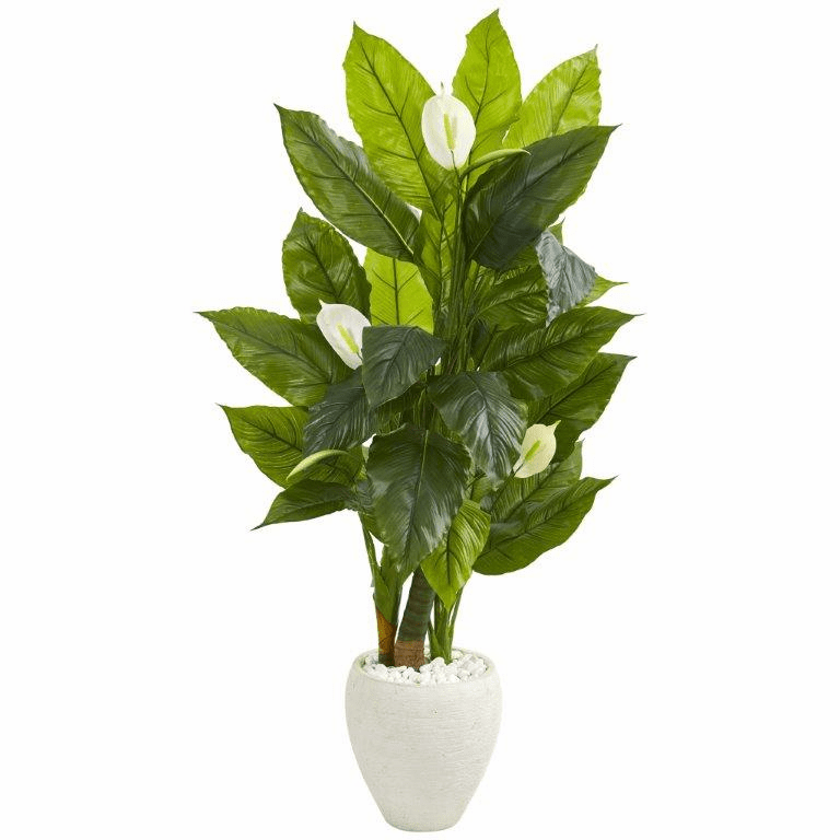 5� Spathyfillum Artificial Plant in White Planter (Real Touch)