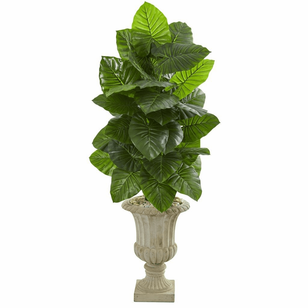 5� Taro Artificial Plant in Sand Finished Urn